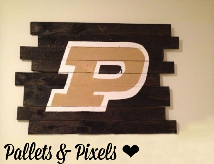 Hand painted Purdue Logo on reclaimed pallet wood with Ebony stain! $85 at Pallets and Pixels!