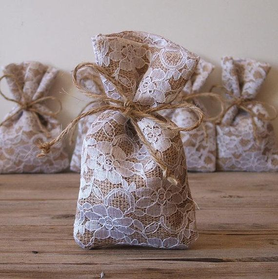Burlap favor bags(50 pc) rustic wedding favor bag (3x5inch) burlap lace favor bag natural jute bow