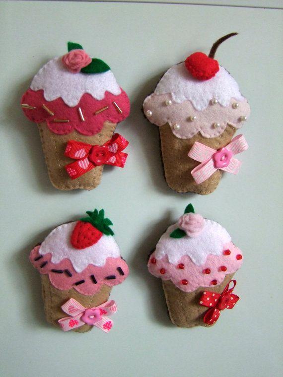 Felt Cupcake magnets handmade Cupcakes ornament Felt magnet Kitchen decoration set of four