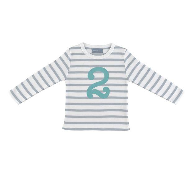 """T Shirt wit & grijze strepen """"2"""""""