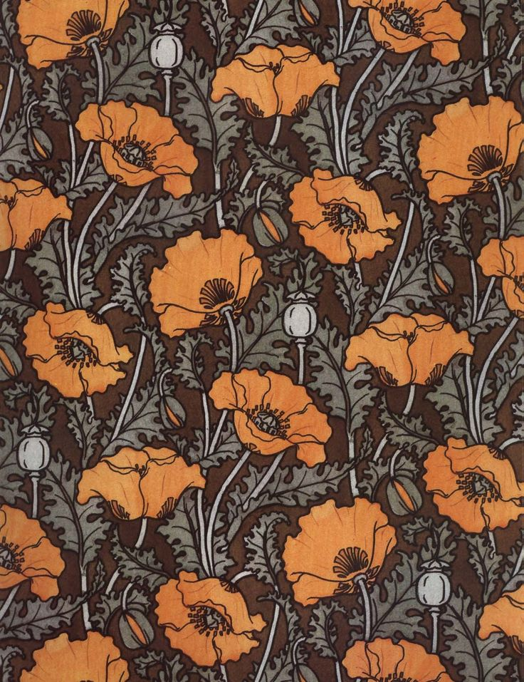 Historical Art Nouveau Wallpaper Patterns | patternvomit:Art Nouveau poppies wallpaper { img source }