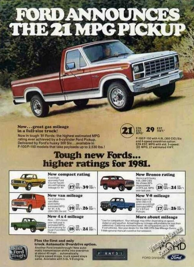 Ford truck ad. (1981) gas mileage hasn't improved any; it's has gotten worse