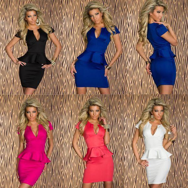 Free Shipping Sexy Women's Low-cut V Neck Evening Club Party Mini Dress OL Peplum Bandage Dresses Big Size S M L XL 5 Colors $10,36