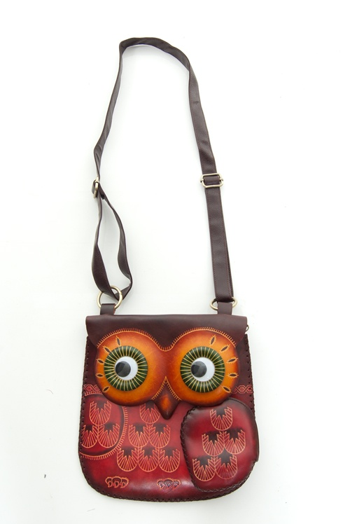 Hand-Made Leather Throwback Owl Purse