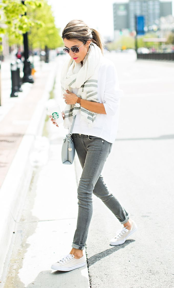 Grey and white spring style; sneaker style; spring scarf