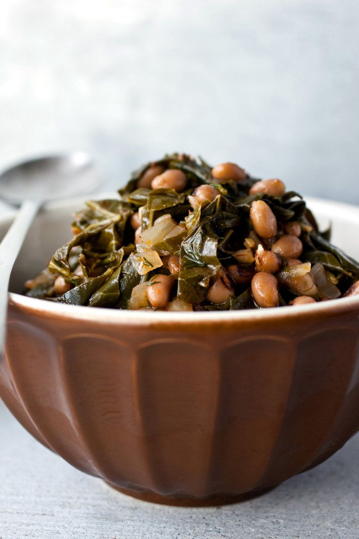 Black-eyed peas with collard greens sounds like a Southern dish, and indeed it would be if you threw in a ham hock and took away the dill But this recipe actually is inspired by a Greek dish that combines black-eyed peas with wild greens.