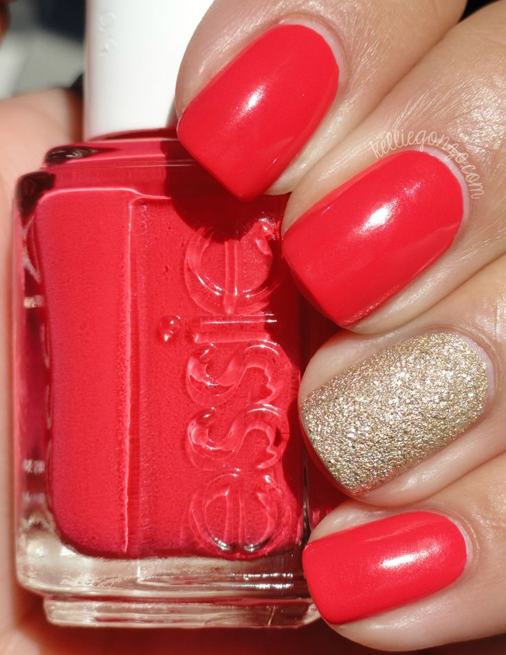 Nails ~ Coral and Golden Sand.  (Essie: Come Here with an accent of OPI Honey Ryder)