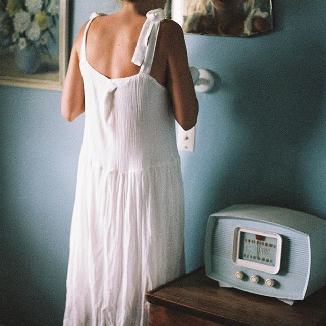 Celebrating daily rituals in our ivory dress. DM us for a custom size ☁️ @_mondayjournal