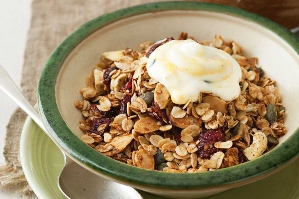 Start your day right with this roasted oat muesli packed with super foods quinoa, coconut oil and pepitas.