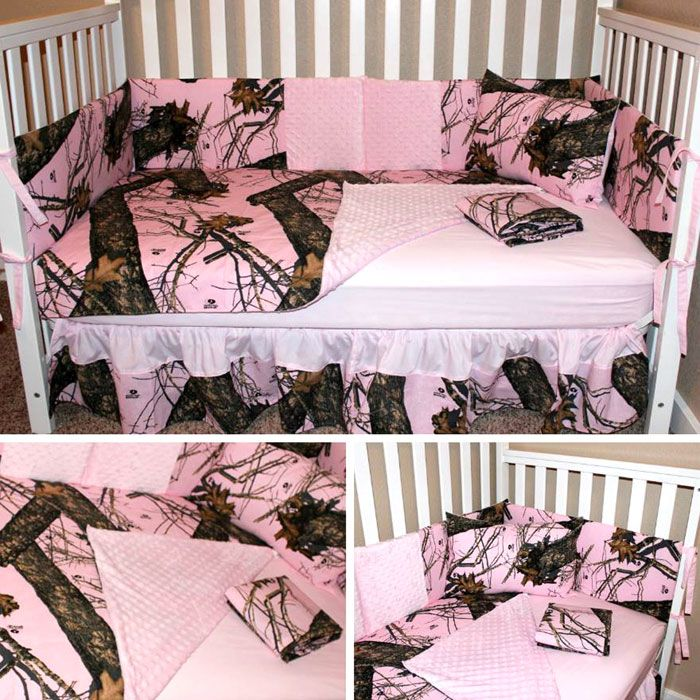 Pink Camo Crib Set made with Mossy Oak