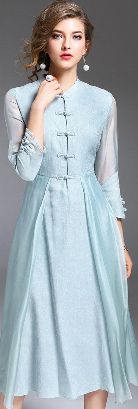 Blue Mandarin Collar Midi Dress Мне особенно складки на юбке нравятся