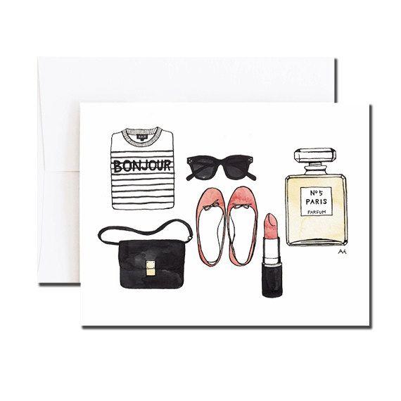 Bonjour Card / Paris Card / Paris Fashion Card by akrDesignStudio