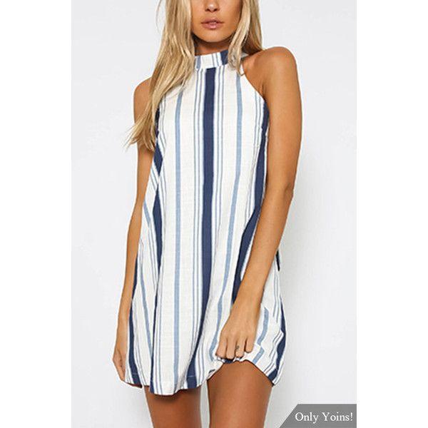 Yoins Navy Stripe Halter Neck Mini Dress (€17) ❤ liked on Polyvore featuring dresses, yoins, black, navy blue striped dress, navy blue dress, striped dress, halter neck dress and navy halter dress