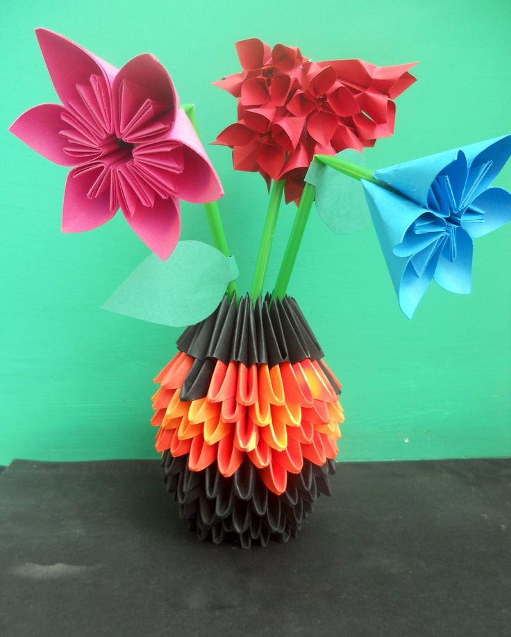 Modular origami flower vase origami tutorial lets make it 29 best decor images on origami flowers vases and mightylinksfo