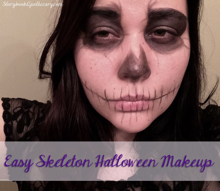 Easy Skeleton Halloween Makeup Look Using Only 1 Product! // StorybookApothecary.com #halloween #createhalloween #halloweenmakeup #skull #skeleton #diadelosmuertos #dayofthedead #dead #trickortreat #spooky #easyhalloweenmakeup #beauty #cosmetics