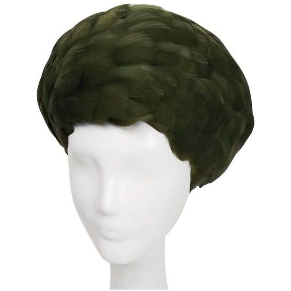 Preowned 1960s Olive Green Feather Beret ($225) ❤ liked on Polyvore featuring accessories, hats, green, army green beret, green beret hat, net hat, military green beret and netting hat