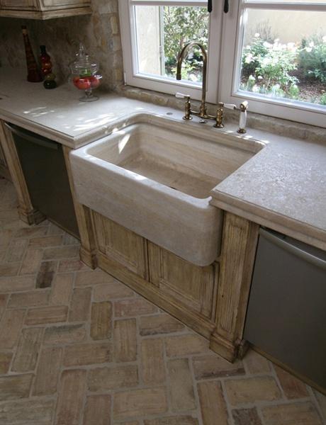 Love it all herringbone floor tile farmhouse sink brass for Mediterranean flooring ideas