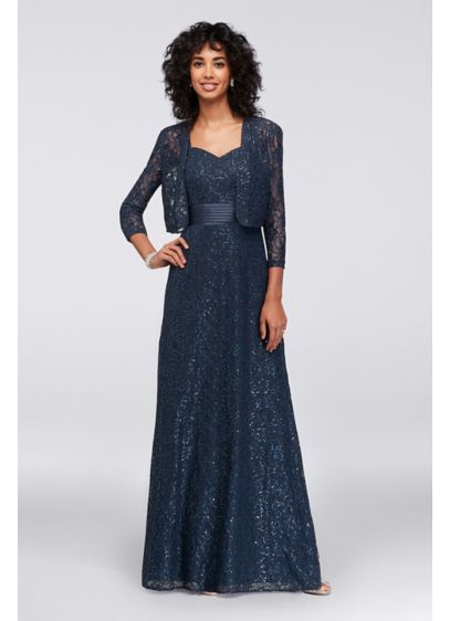 Sequin Lace Dress with Satin Trim and Jacket 1121880