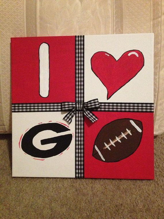 "I Love SEC football canvas 10""x10"": with your choice to 10 great SEC teams on Etsy, $15.00"