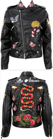 Embroidered Faux-Leather Jacket
