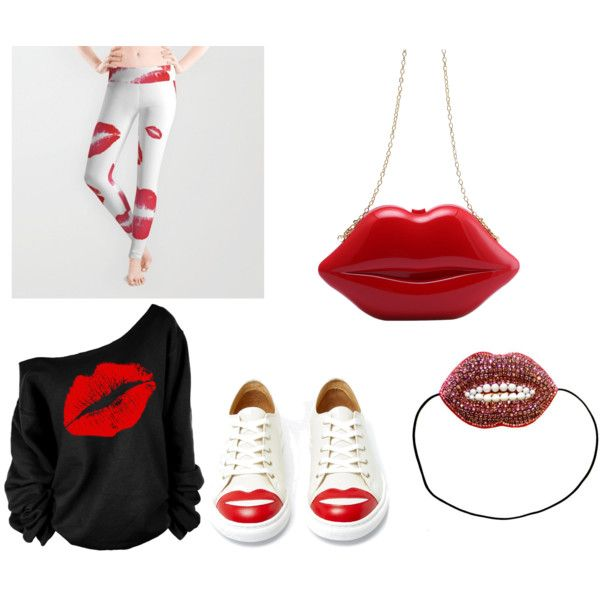 Lip outfit by nshkoukani on Polyvore featuring polyvore, fashion, style, Charlotte Olympia and Deepa Gurnani