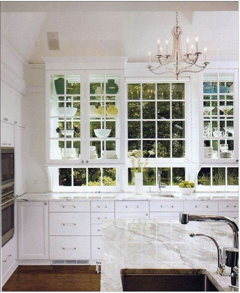 This many windows is a dream!: Kitchens Window, Ideas, Dreams, Glass Cabinets, Glasses Cabinets, Windows, Kitchens Cabinets, White Kitchens, Kitchen Cabinets