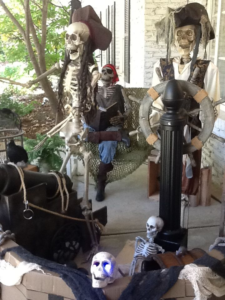 Pirate Ship porch display  - Mailbox used for cannon and ships wheel