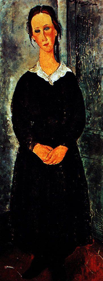 Амадео  Модильяни. Служанка. 1919 г. Холст, масло. 152х61. Буффало. Художественная галерея Олбрайт-Нокс