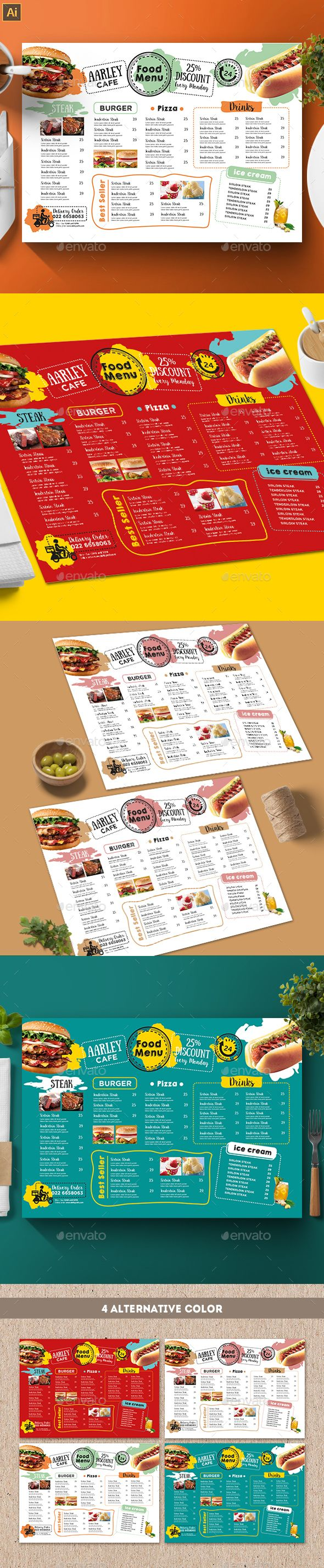 Cafe Menu Template — Vector EPS #menu #drink • Available here ➝ https://graphicriver.net/item/cafe-menu-template/20929648?ref=pxcr