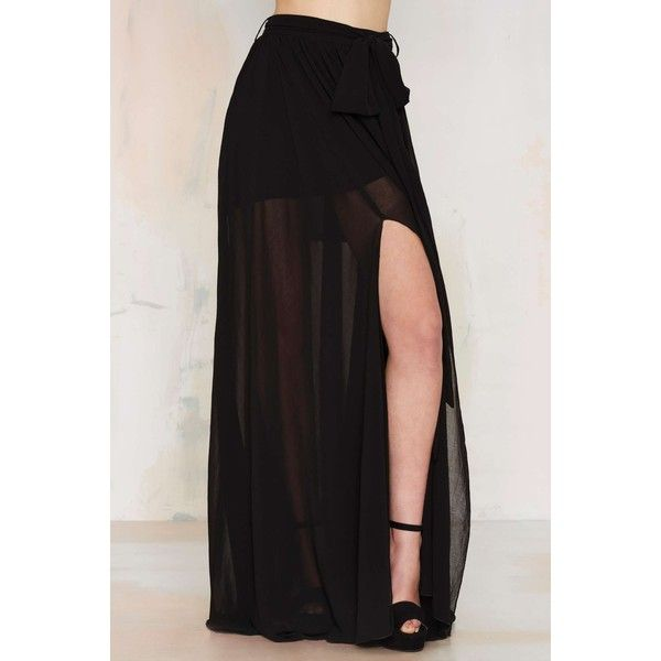 The Gift of Wrap Skirt ($45) ❤ liked on Polyvore featuring skirts, mini skirts, bottoms, black mini skirt, mini maxi skirt, short black skirt, black miniskirt and side slit skirt