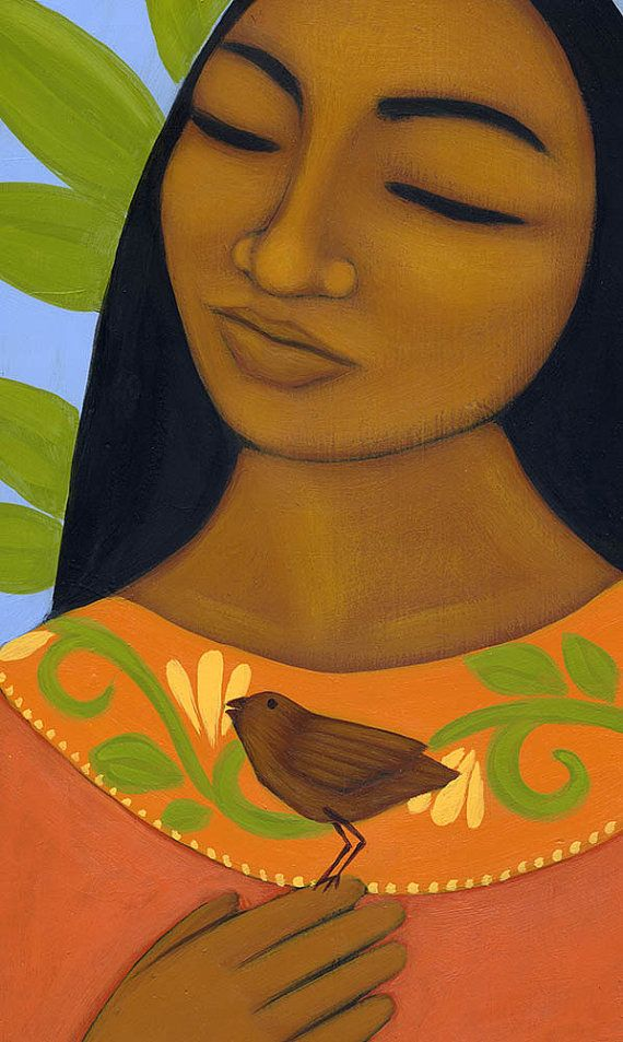 Portrait of Mexican Girl with Bird - Print of Original Folk Art Figure Painting by Tamara Adams