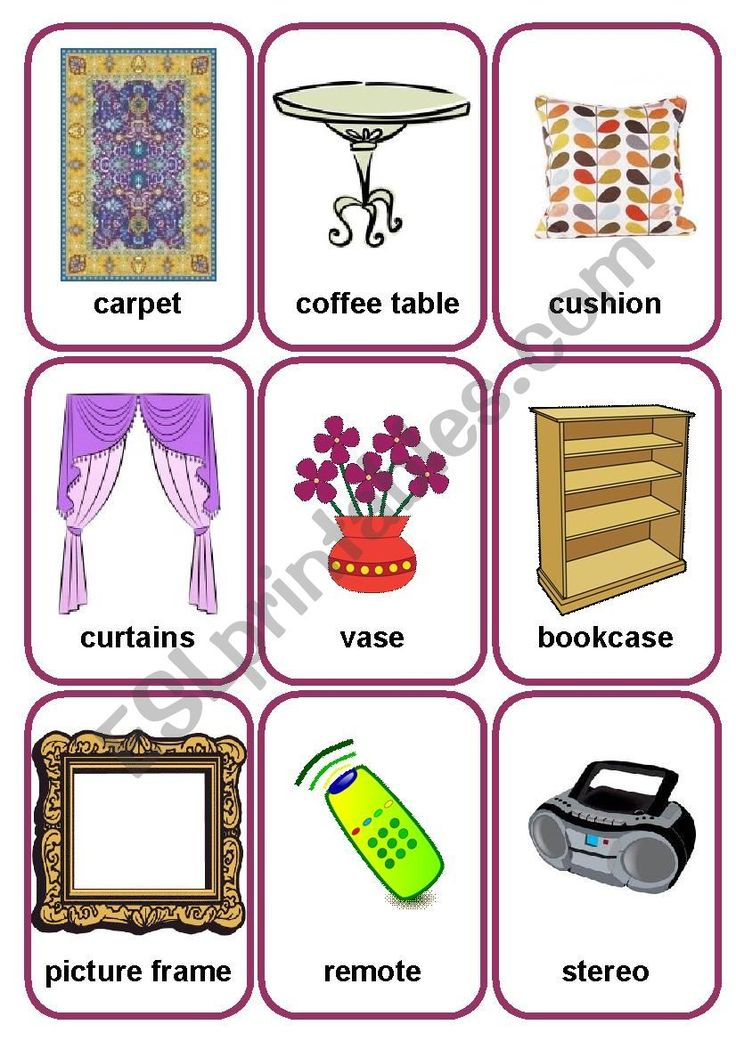 Living room flashcards 2 ESL worksheet by gasya in 2020