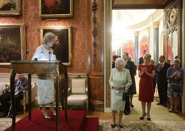 Queen Elizabeth II Photos Photos - Princess Alexandra gives a speech as Queen Elizabeth II, Sophie, Countess of Wessex look on during a reception to celebrate the patronages of the Princess, in the year of her 80th birthday at Buckingham Palace on November 29, 2016 in London, England. - Queen Elizabeth II Hosts a Reception for Princess Alexandra