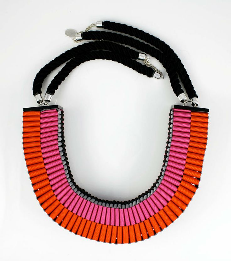 The Clemence woven rope necklace in orange and pink. £90.00, via Etsy.