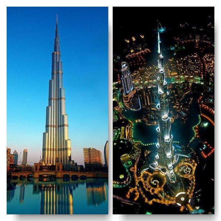 El imponente Burj Khalifa. en el día y en la noche.