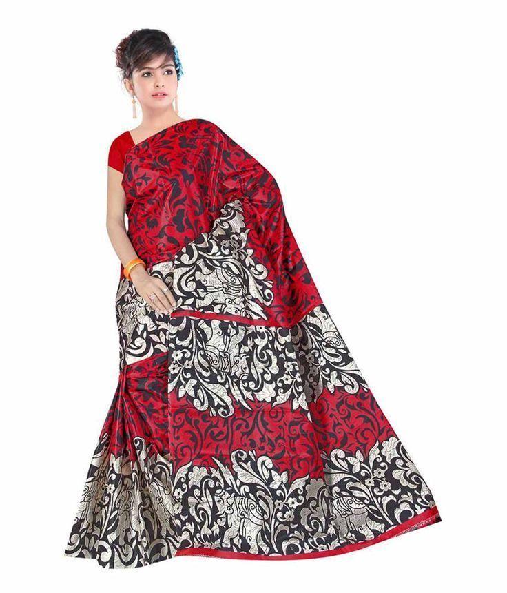 rot-weiß-schwarzer Sari / Saree aus Art Silk, Neu