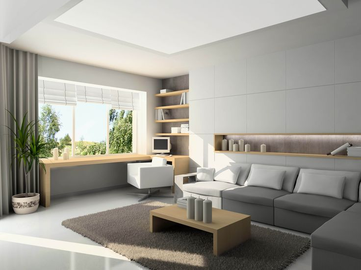 House Design,Magnificent White Wall Paint Living Room Interior Design With Modern L Shaped White Sofa On Combined Light Brown Wood Coffee Table And Comfortable Corner Study Space Complete With Monitor Also White Swivel Chair Plus Charming White Ceramic Tile Floor,Top Choice Minimalist Modern Interior Design For Your Home
