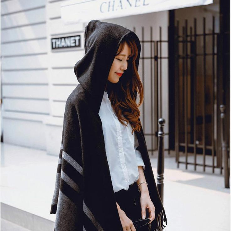 Women's Wool Hooded Poncho with Hat Winter Scarves $25.95 => Save up to 60% and Free Shipping => Order Now! #fashion #woman #shop #diy www.scarfonline.n...