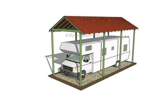 Best 25 rv carports ideas on pinterest rv shelter rv for Carport with storage shed plans