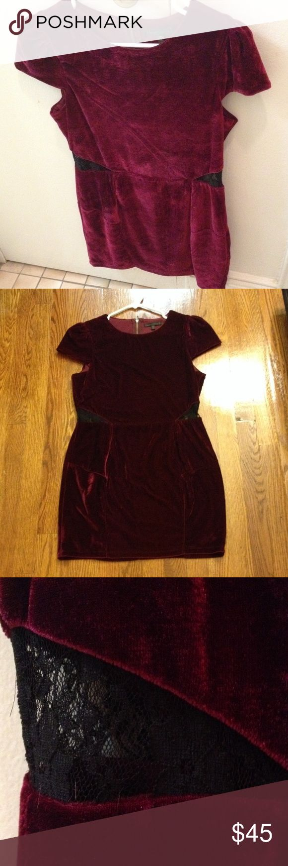 Deep Maroon Velvet Dress Luxurious deep reddish-violet velvet short-sleeved dress with peekaboo black lace cutout above hips. Dress hits above knee. Long gold zipper detail on back. Lucca Couture Dresses Mini