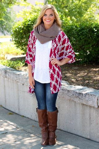Trellis Lattice Printed Cardigan | uoionline.com: Women's Clothing Boutique