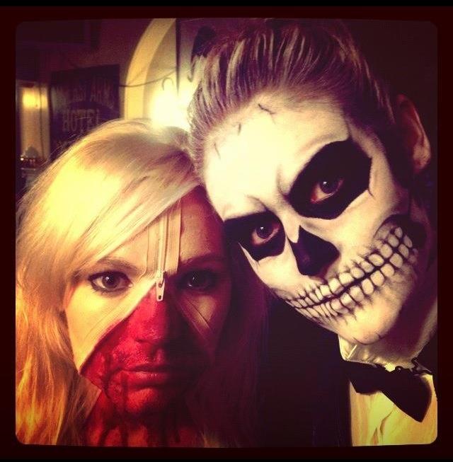 #Halloween #halloween #halloween #skull and #zip face #facepaint  #makeup