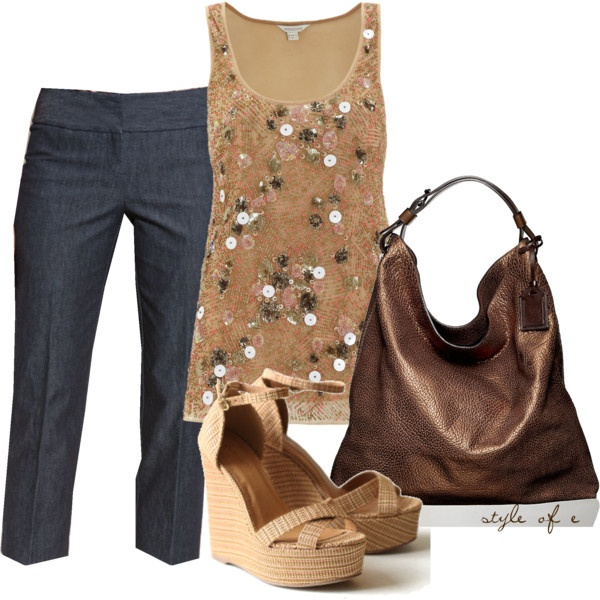 love this outfit with the sequined tank: Clothing Ideas, Inner Fashionista, Fashion Styles, Fashion Outfits, Polyvore, Outfits Clothing, Tanks
