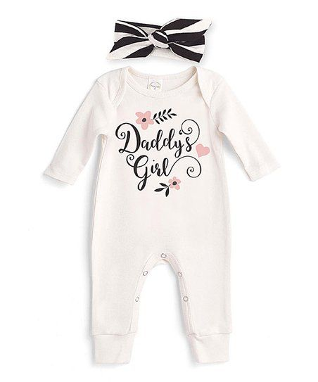 af3a569d3a1 Tesa Babe Ivory   Black Daddys Girl Playsuit   Headband - Newborn   Infant
