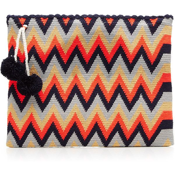 Sophie Anderson Woven Cotton Clutch (€160) ❤ liked on Polyvore featuring bags, handbags, clutches, multicolored, colorful handbags, colorful purses, cotton handbags, chevron purses and tri color handbags