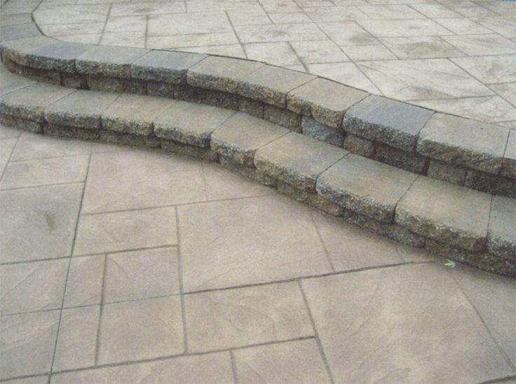 concrete patios -stamped concrete: Stamped Concrete Patios, Paver Steps, Patios Stamped, Add Wooden, Wooden Furniture, Concrete Design, Natural Elements, Cheap Option