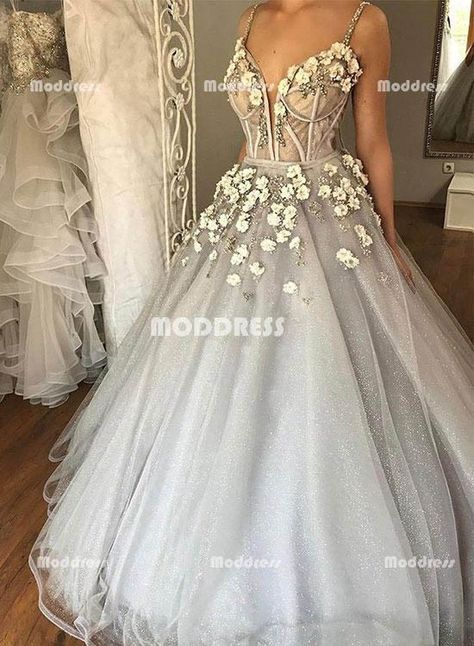 a68b0d48cf Elegant V-Neck Wedding Dresses Applique Long Prom Dresses Spaghetti Straps Formal  Dresses