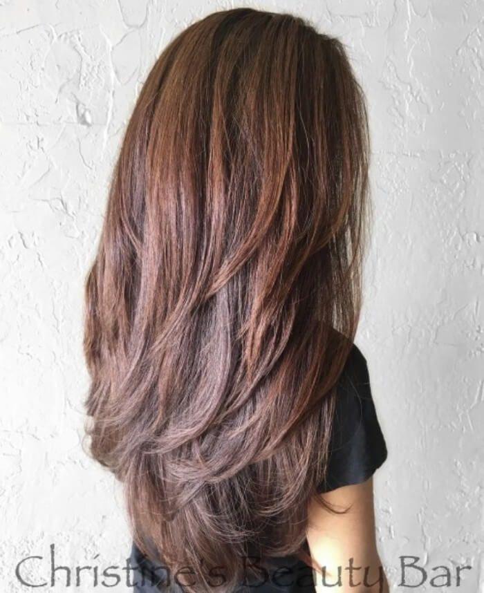 Rotlich Braunen Stil Mit Langen V Cut Schichten Hair Hairstyle