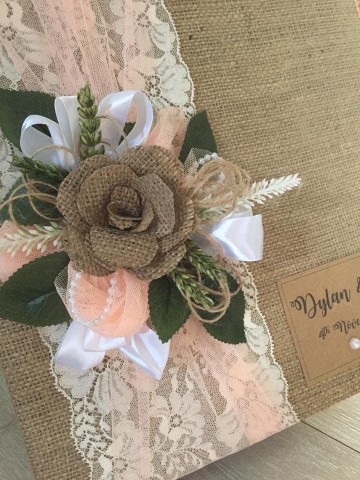 Peach and rustic handmade guest books