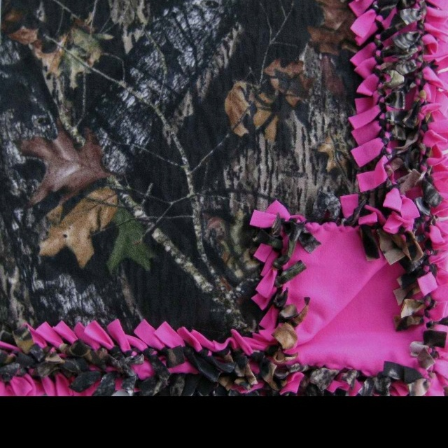 Flannel mossy oak camo and pink tie blanket